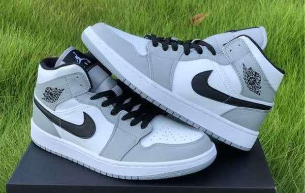 Hot Sale Air Jordan 1 Mid Light Smoke Grey 554724-092 Shoes To Buy Jordansaleuk.com